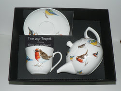 Garden birds 2 cup teapot,cup and saucer with gift boxed option