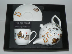 Dog 2 cup teapot, cup and saucer gift boxed.