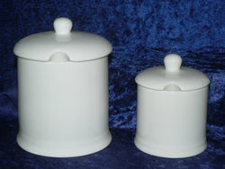 white bone china lidded preserve jars in a choice of 2 sizes for jam marmalade