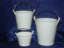 White ceramic buckets in a choice of 3 sizes - 100's of uses for each size bucket