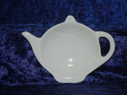 White porcelain Teapot shaped teabag tidy used teabag holder