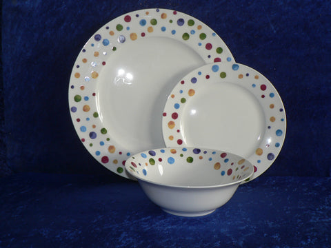 White fine bone china dinner, side, cereal bowl, colourful spots pattened rim