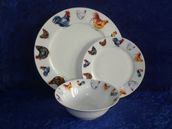 White fine bone china dinner, side, cereal bowl, with chicken cockerel round rim  -  Choose options required from drop down menu beside photo