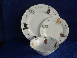 White fine bone china dinner, side, cereal bowl, with different cats around rim