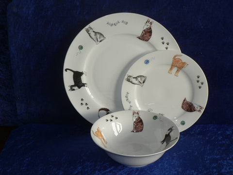 White fine bone china dinner, side, cereal bowl, with different cats around rim  -  Choose options required from drop down menu beside photo
