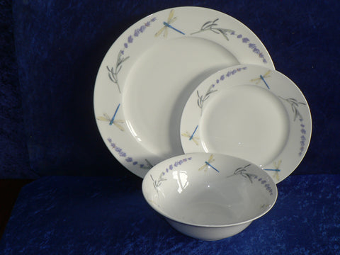 White fine bone china dinner, side, cereal bowl, dragonfly/lavender pattened rim