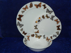 White fine bone china dinner, side, cereal bowl, with butterflies around rim