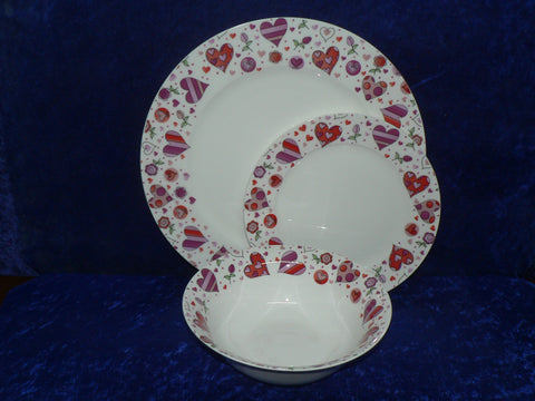 White fine bone china dinner, side, cereal bowl, with pink hearts around rim