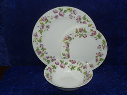White fine bone china dinner, side, cereal bowl, with soft pink roses around rim  -  Choose options required from drop down menu beside photo