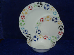 White fine bone china dinner, side, cereal bowl, with coloured footballs on rim  -  Choose options required from drop down menu beside photo