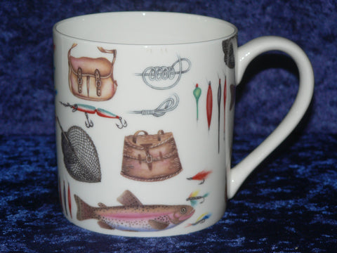 Fishing tackle pint mug Bone china mug decorated with fishing tackle chintz design