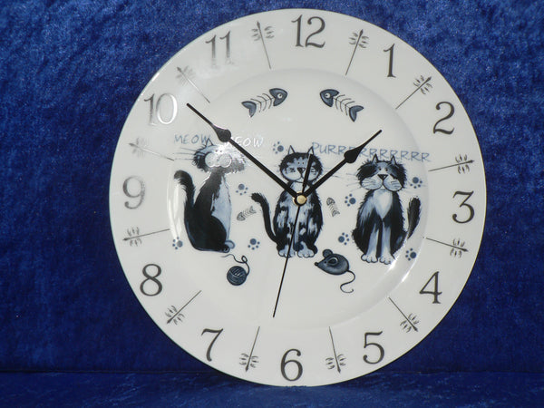 "Cat cats fun 11"" large bone china wall clock"