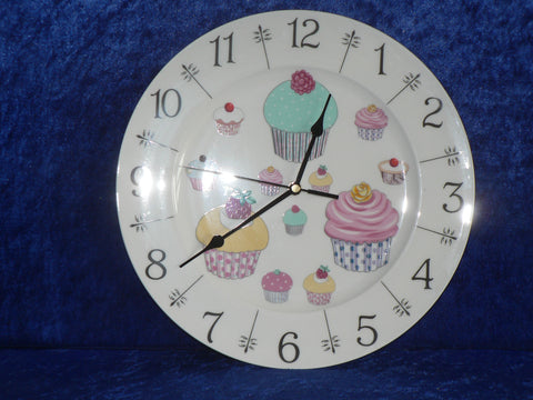 "Cupcake clock - colourful fun 11"" large bone china wall clock"