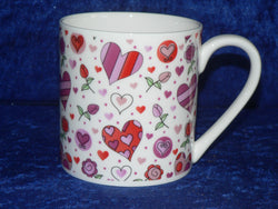 Hearts 1 pint bone china mug pink hearts CHINTZ mug also personalised option