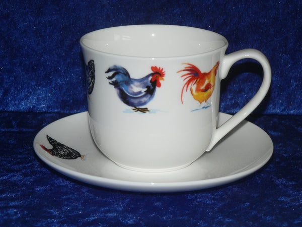 Bone china cup and saucer decorated with chickens, cockerels, roosters, hens