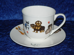 Bone china cup and saucer set with fun dogs design