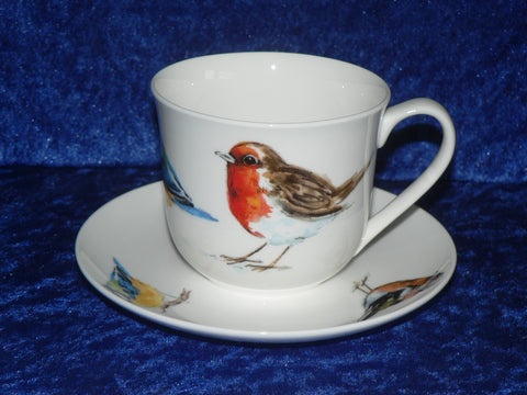 Bone china cup and saucer set with garden birds design, robin blue tit chaffinch