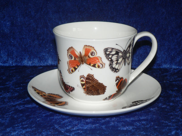 Bone china cup and saucer set with beautiful butterfly design
