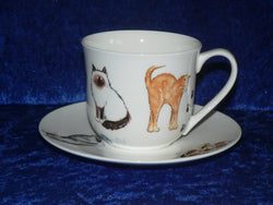 Bone china cup and saucer set decorated with a range of our very popular cats
