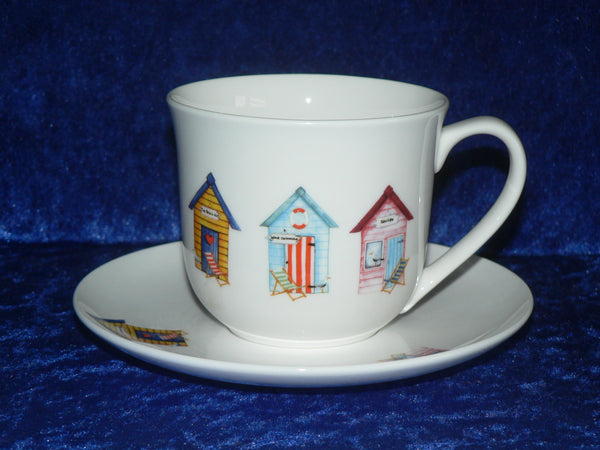 Bone china cup and saucer set decorated with colourful beach huts