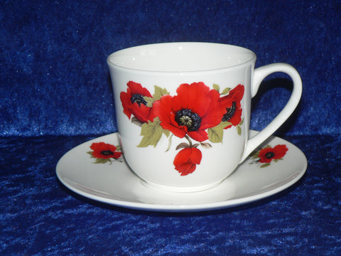Bone china cup and saucer decorated with our beautiful poppy design