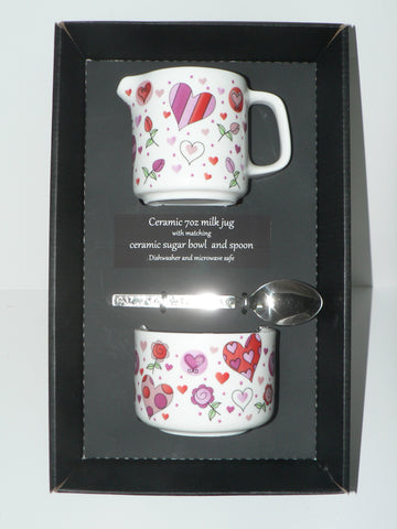 Pink hearts and flowers design matching milk jug and sugar bowl - gift boxed option available