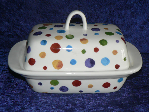Spots butter dish porcelain traditional shape deep dish with cover spotty dots