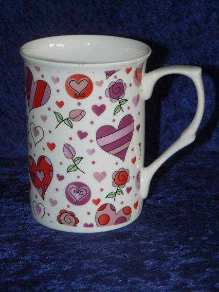 Pink hearts bone china mug - shabby chic design hearts and flowers