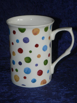Spots bone china mug - shabby chic design like hand painted spots