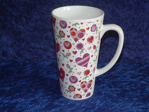 Pink hearts and flowers ceramic large latte mug 3/4pt capacity