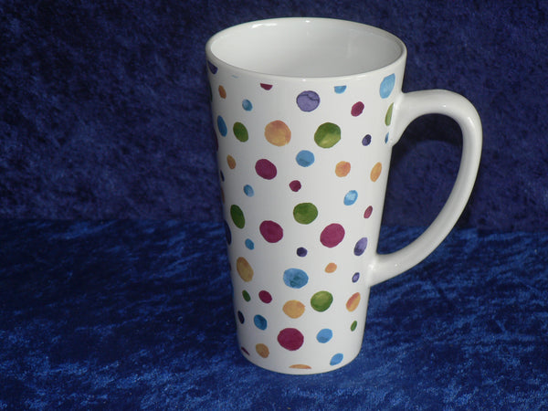 Colourful spot design ceramic large latte mug 3/4pt capacity shabby chic design