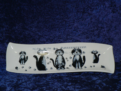 Blue cats design porcelain garlic bread tray tapas dish nibbles dish snack tray