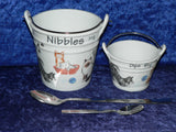 Boxed pair of Cats pattern ceramic buckets perfect for tapas dishes nibbles & dips