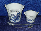 Boxed pair of Blue willow pattern ceramic buckets perfect for tapas dishes nibbles & dips