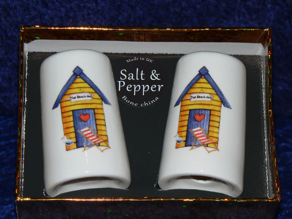 Beach Hut salt and pepper (cruet) set gift boxed in choice of colours