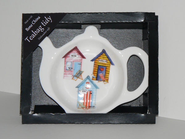 Beach Hut Teabag Tidy in gift box. Bone china beach hut teabag tidy in gift presentation box