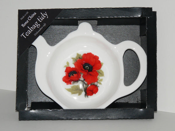 Poppy Teabag Tidy in gift box. Bone china teabag tidy in gift presentation box