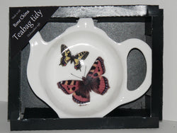 Butterfly Teabag Tidy in gift box. Bone china teabag tidy in gift presentation box