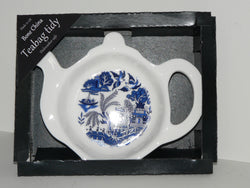 Blue willow pattern Teabag Tidy in gift box. Bone china teabag tidy in gift presentation box