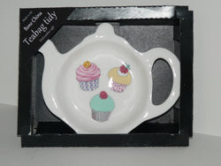Cupcake Teabag Tidy in gift box. Bone china teabag tidy in gift presentation box