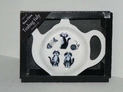Cats Teabag Tidy in gift box. Bone china cats teabag tidy in gift presentation box (BLUE)