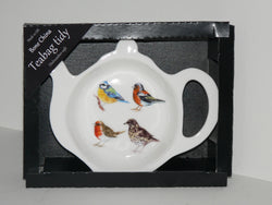 Garden Birds Teabag Tidy in gift box. Bone china teabag tidy in gift presentation box