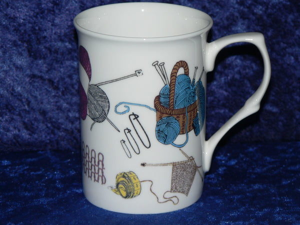 Knitting design bone china mug