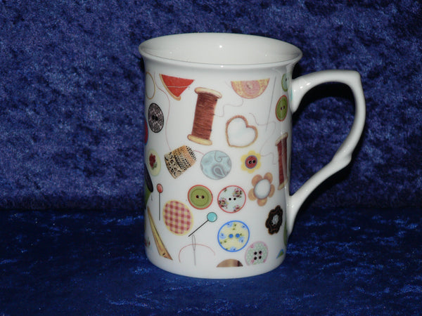 Sewing needlework design bone china mug