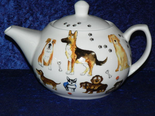 Dogs design 2 cup or 6 cup ceramic teapot or choose milk jug or sugar bowl