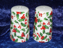 Holly salt and pepper set - Christmas holly deisgn - Bone china cruet set decorated all round with colourful holly chintz