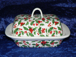 Christmas Holly colourful porcelain traditional deep white butter dish