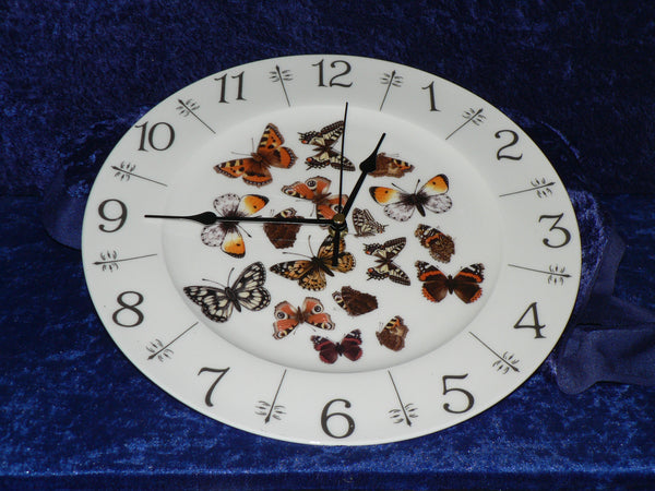 "Butterfly 11"" large bone china wall clock"