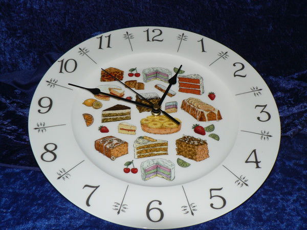 "Cakes 11"" large bone china wall clock - gift boxed"