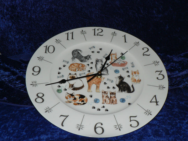 "Cat chintz fun 11"" large bone china wall clock"
